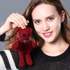 Cute Fluffy Bear Keychain with Fur Pompom