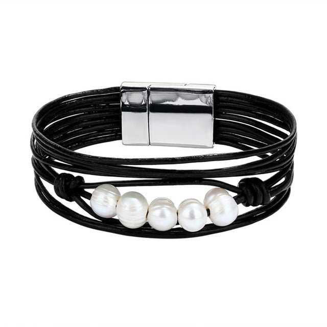 Vintage Multi-Layer  Leather Bracelets featuring Simulated Pearl Charms