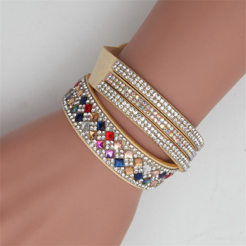 Multi layer Rhinestone PU Leather Bracelet