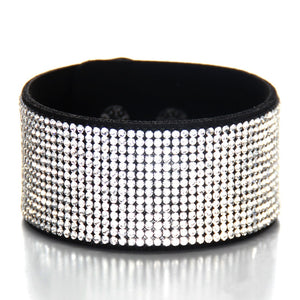 Crystal rhinestones genuine leather cuff bracelet