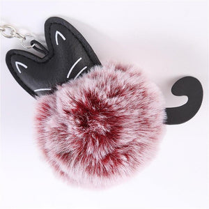 Cute Fluffy Cat PomPom Keychain