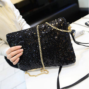 Ladies Sequined Handbag/clutch with removable straps