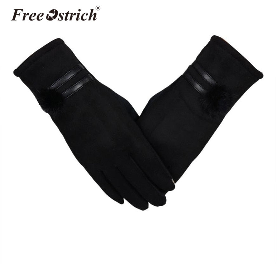 Ladies gloves with touch screen finger pads