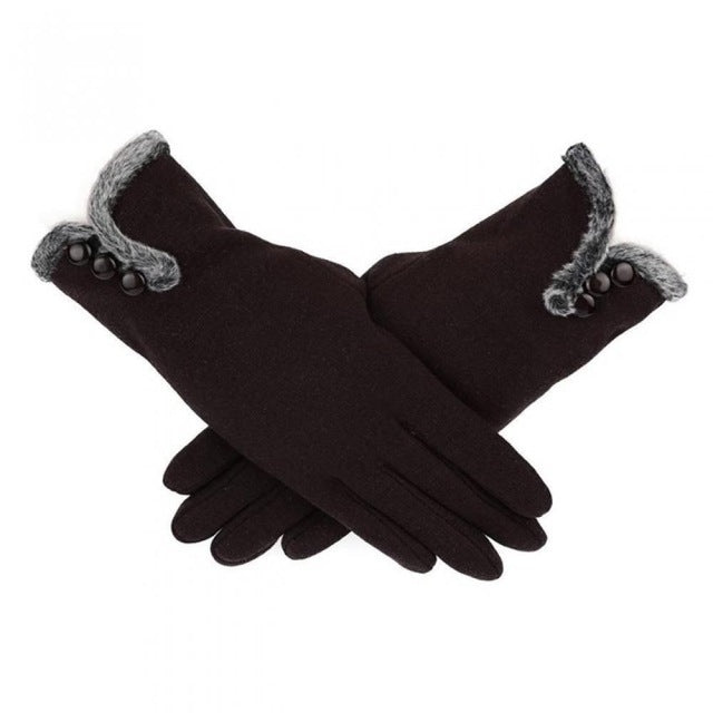 Women Gloves with fur trim - mobile phone touch pads