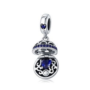 Authentic 925 Sterling Silver Ball Charm with zircona stone