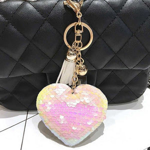 Glitter Heart Keychain with Leather Tassel