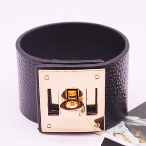 European Style - Wide circular gold look Leather Bracelets and Cuff Bracelet Statement Jewelry