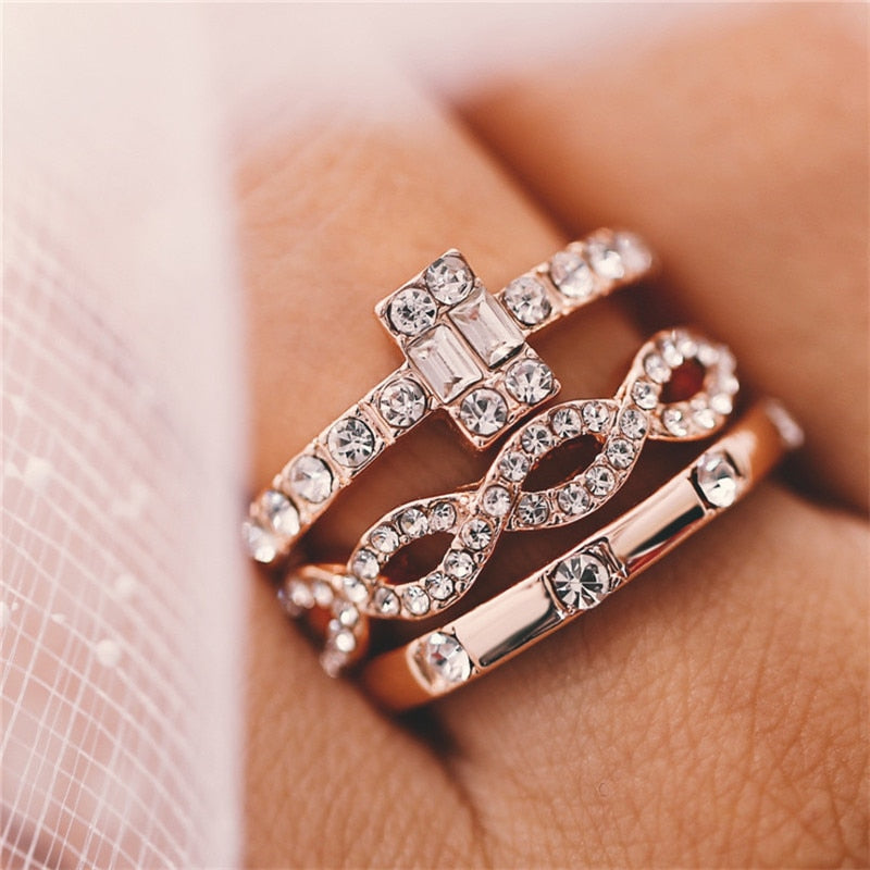 3 Piece Rose Gold coloured Dress Ring Set