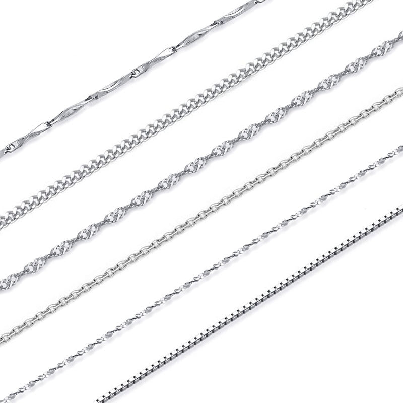 100% Genuine 925 Sterling Silver Chains Lobster Clasp