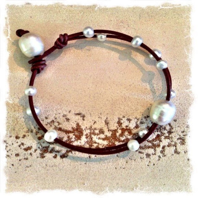 Latest style - Knotted leather choker or necklace with black pearls