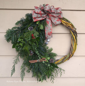 Christmas Willow Wreath ~ Handmade, Locally Grown ~ Plus Four Willow Cuttings for Planting