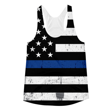 Thin Blue Line Flag Women's Racerback Tank
