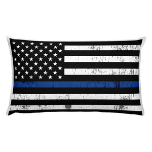 Thin Blue Line Flag Rectangular Pillow