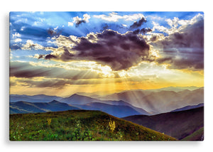 Sun Rays Over Mountains