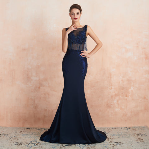 Mermaid Bateau embroidered Edging Embroidery sleeveless backless Train gown 14-24357