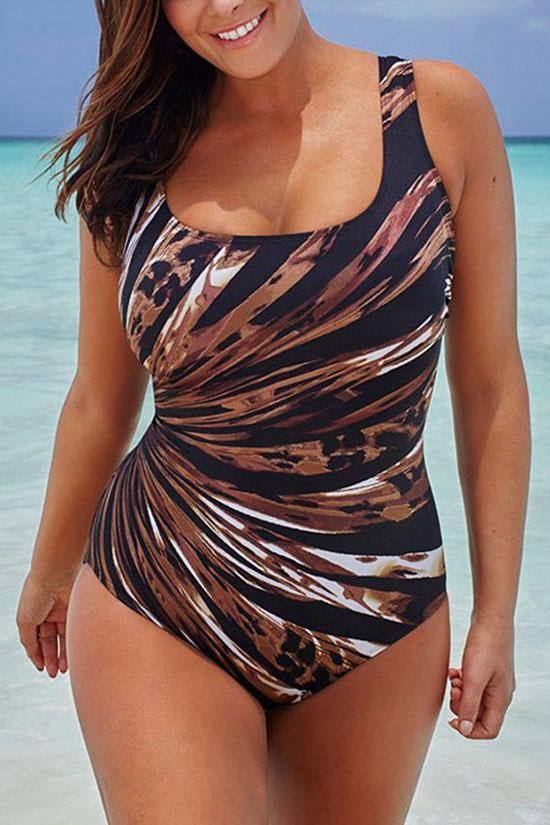 Tropical Gradient Scoop Neck Plus Size One Piece Swimsuit SK0173