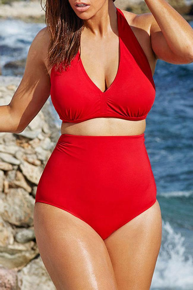 Concise Plus Size Two Piece High Waisted Plunged V Halter Bikini Swimsuit SK0171
