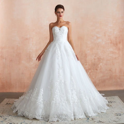 Embroidery Sleeveless A-line Sweetheart neckline Tulle Lace Floor-length wedding dress 14-39367