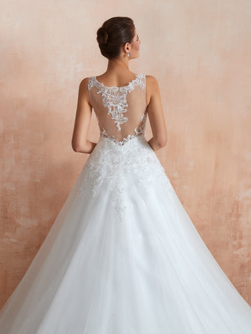 A-line floor length embroidered wedding dress with diamonds 14-30364