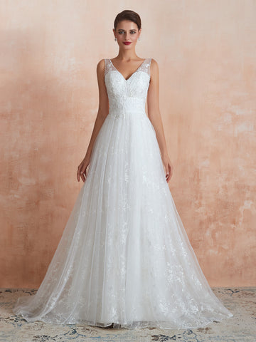 V-neck double shoulder strap lace floor length wedding dress14-31370