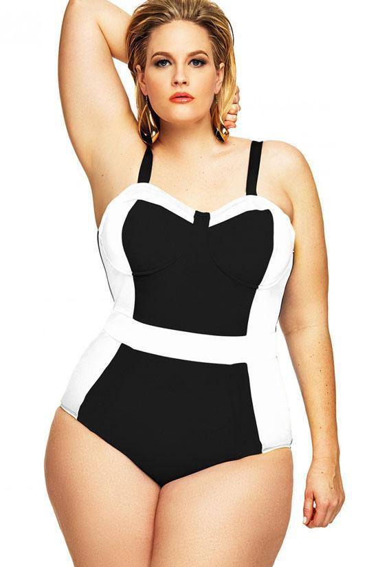 Sweetheart Bustier Plus Size One Piece Bathing Suit SK0143