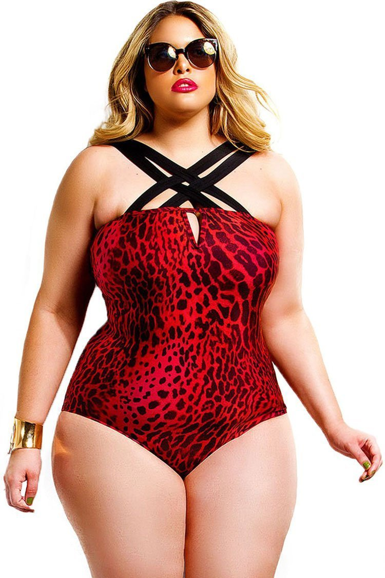 Red Leopard Printed Plus Size One Piece Swimsuit SK0152