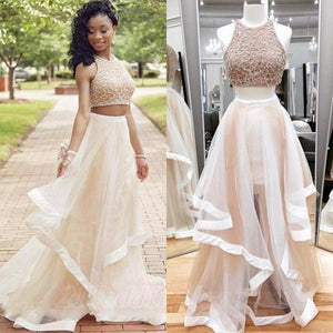 Princess Two Pieces Long Beaded Elegant Tulle A-line Prom Dresses Z0119