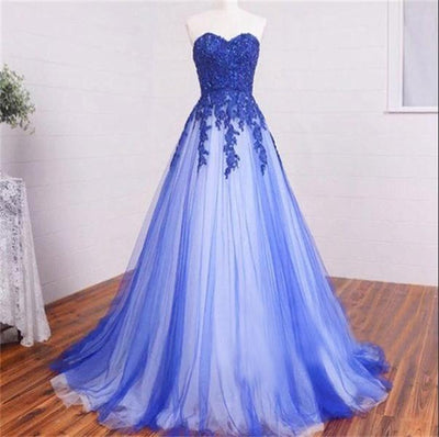 Elegant Affordable Sweetheart Lace Up Long Royal Blue Lace Tulle Elegant Prom Dresses Z0303