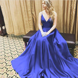 Modest Green A-line Spaghetti Straps V-neck Long Prom Dresses For Teens Z0125 - Bohogown