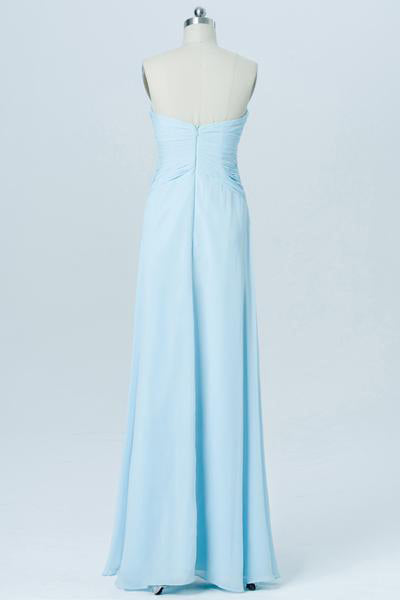 Simple Cheap A-line Long Chiffon Sweetheart Light Blue Bridesmaid Dresses Z0011