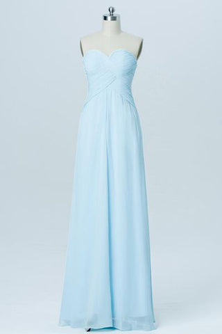 Simple Cheap A-line Long Chiffon Sweetheart Light Blue Bridesmaid Dresses Z0011 - Bohogown