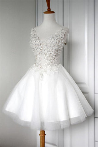 V-neck White Lace Appliques Short A-line Cute Lace Up Homecoming Dresses Z0014 - Bohogown