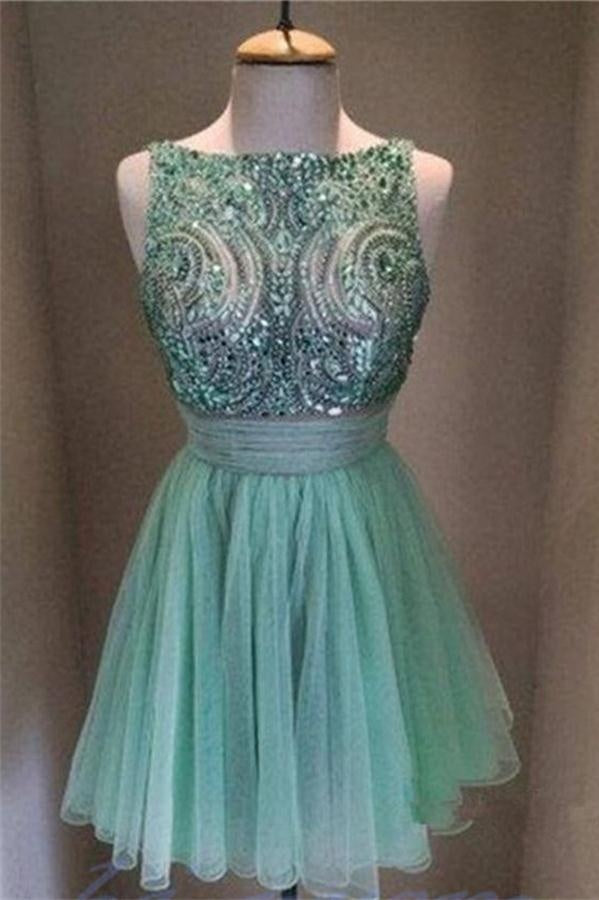 Modest Green Beaded A-line Short Cute Homecoming Dresses For Teens Z0015