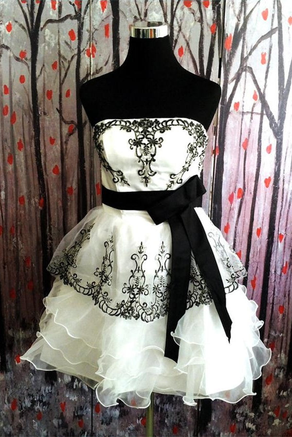 Simple Ivory And Black Short Cute Homecoming Dresses,Cute Dresses Z0016