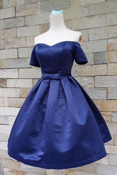 Simple Royal Blue Satin Off Shoulder Homecoming Dresses With Sleeves Z0017