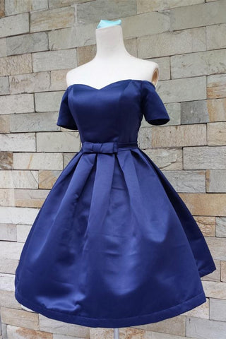 Simple Royal Blue Satin Off Shoulder Homecoming Dresses With Sleeves Z0017 - Bohogown