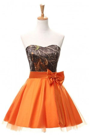Orange Short Strapless Lace Up Simple Cheap Homecoming Dresses Z0018