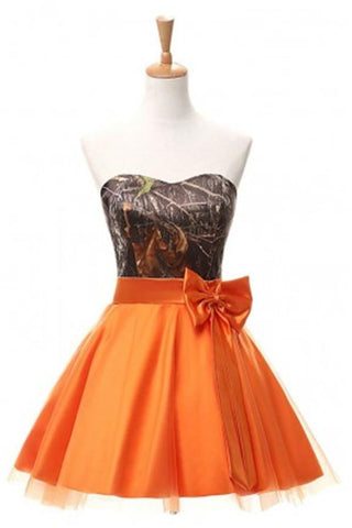 Orange Short Strapless Lace Up Simple Cheap Homecoming Dresses Z0018 - Bohogown