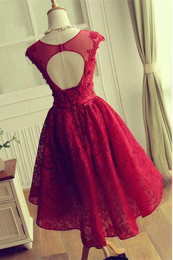 Red Lace Cap Sleeves Short A-line Homecoming Dresses For Teens Z0019