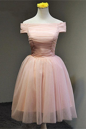 Simple Cheap Pink A-line Off Shoulder Lace Up Homecoming Dresses Z0020