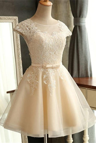 Elegant Cap Sleeves Short A-line Lace Homecoming Dresses For Teens Z0021 - Bohogown