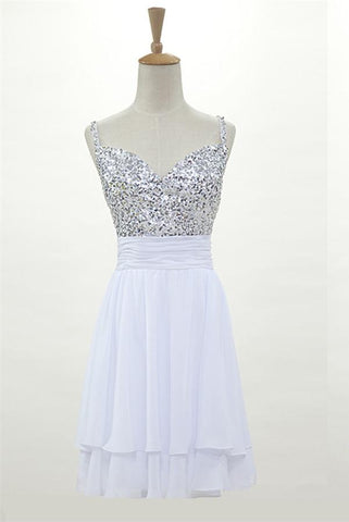 White Chiffon Sparkly Open Back Simple Homecoming Dresses Z0023 - Bohogown