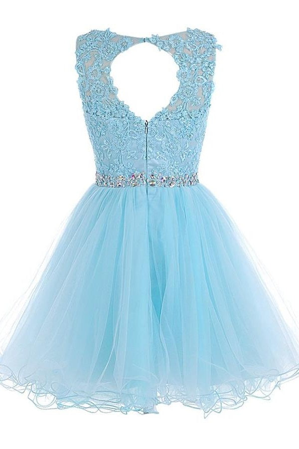 Light Blue Lace Beaded Backless Short Homecoming Dresses,Cute Dresses Z0024