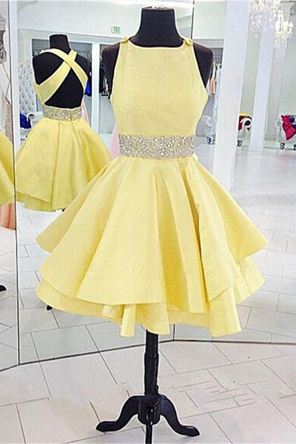 Yellow Satin Beaded Short Backless Homecoming Dresses,Cheap Homecoming Dress Z0025