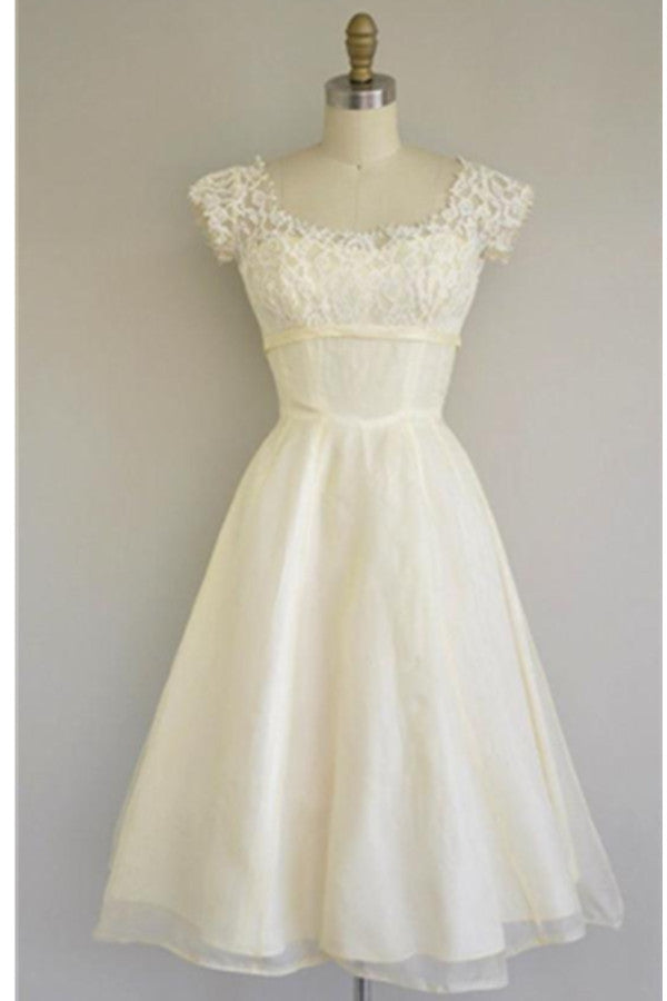 Cute Simple Cheap A-line Lace Homecoming Dresses With Sleeves Z0026