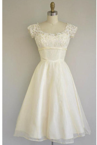 Cute Simple Cheap A-line Lace Homecoming Dresses With Sleeves Z0026 - Bohogown