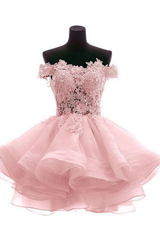 Pink Off Shoulder Lace Short Homecoming Dresses,Simple Cheap Homecoming Dress Z0027 - Bohogown
