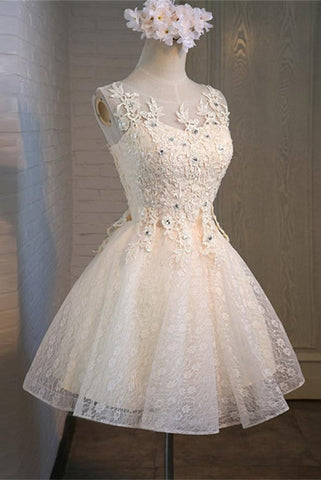 Cute Short Lace Beaded Modest Homecoming Dresses For Teens Z0029 - Bohogown