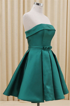 Strapless Green Lace Up Satin Cheap Simple Elegant Homecoming Dresses Z0030