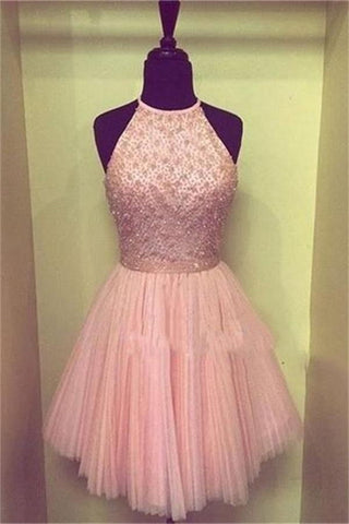 Pink Open Back Beaded Tulle Short Homecoming Dresses,Best Selling Homecoming Dress Z0032 - Bohogown